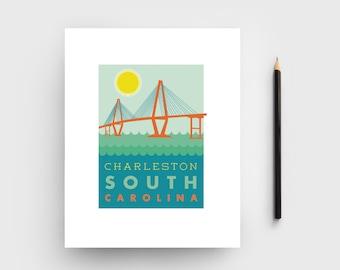 Charleston Ravenel Bridge Graphic Print; Charleston, SC Art; Charleston Bridge; Charleston, South Carolina Print; Charleston Gift