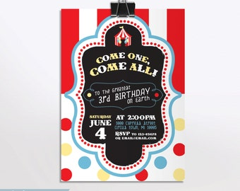 Personalized Circus Carnival Printable Invitation Pack With Thank You Notes