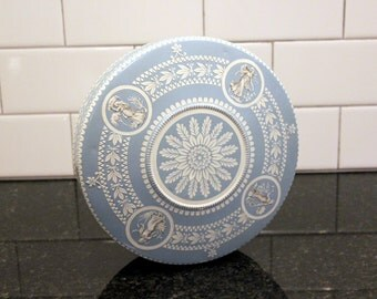 Greek to Me... Vintage Candy Tin with Grecian Motif, Goddesses/Nymphs; Wedgewood Blue and White; Made in Holland; Storage, Organization