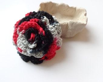 Crochet brooch flower, red-black-gray cotton flower, cotton brooch, brooch for coat, flower for her, accessories for coat, crochet rose