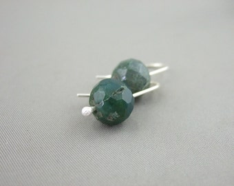 Dark Green Gemstone Earrings - Moss Agate and Sterling Silver Earrings