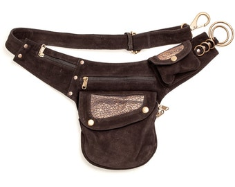 Leather Side Pouch: with embossed detail  bumbag pocket belt fanny pack utility belt travel festival