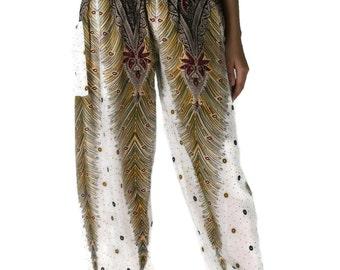Women Trouser Pants Peacock design Yoga Pant Aladdin Pants Maxi Pants Boho Pants Gypsy Pants Rayon Clothing Trouser one size fits White
