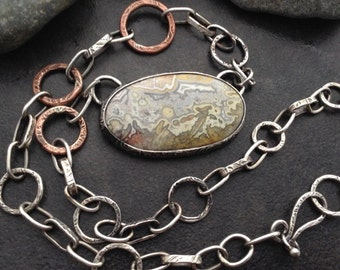 Crazy lace agate pendant set in silver on thick handmade sterling & copper chain necklace, natural stone art, primitive abstract landscape