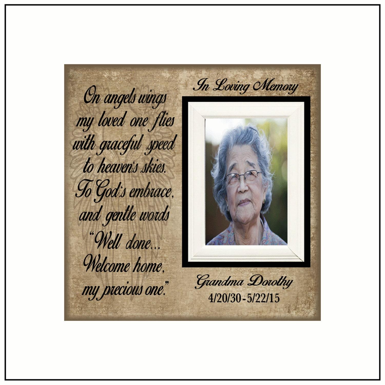 In Loving Memory Photo Memorial Frame On Angels Wings
