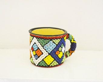 African Zulu Cup/Zulu Beaded Enamel Cup/Zulu Beaded/Beaded Enamel Mug/African Dining/Vintage Beaded Cup Mug