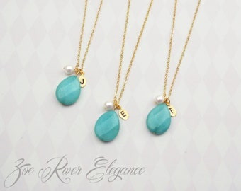 Turquoise personalized initial necklace. Choose gold, silver or rose gold. Turquoise green, pearl, initial necklace.