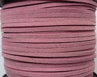 Mauve Vegan Faux Suede Flat Cord 3mm