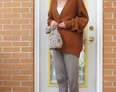 80s Terry Williams Cardigan Russet Brown Unisex Oversized Loose Fit Men's Large Women's XL