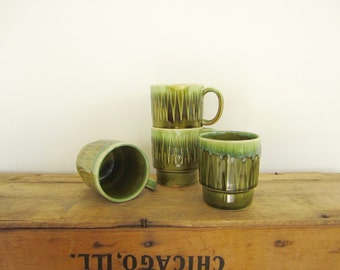 Green Stacking Mugs