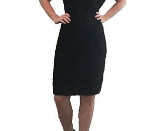 Black Sequin Mini Dress/ Beaded Mini Dress/ LBD/ Formal Dress/ Party Dress/ Prom Dress/ Sequin Gown/ Vintage/ Designer Dress
