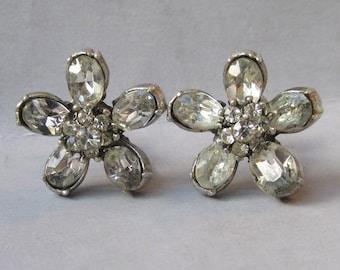 Very Early CORO Rhinestone Flower Earrings