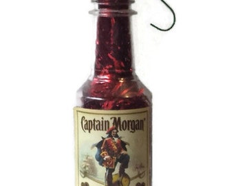 Captain Morgan Ornament, Captain Morgan Christmas Tree Ornament, Captain Morgan Spiced Rum, mini Captain Morgan bottle ornament, gift