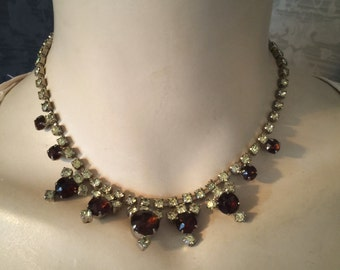 Dazzling 1950s Deep Topaz, Pale Jonquil Yellow Rhinestone Necklace, Earrings Included