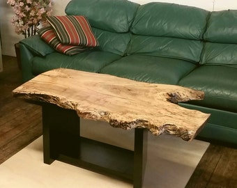 Live Edge Coffee Table Dramatic Natural Maple Spalted Grain Unique Solid Wood  Hallway Table