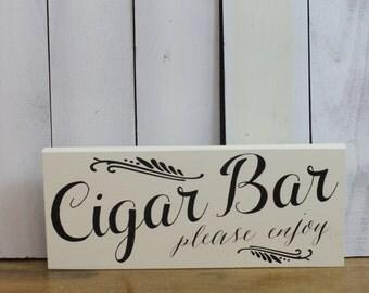 CIGAR BAR Sign/ Wedding Sign/U choose color/Great Shower Gift/Elegant Style/Black/Ivory/Wood Sign/Cigar