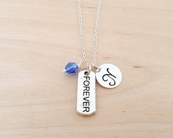 Forever Necklace - Forever Charm - Personalized Necklace - Initial Necklace - Swarovski Birthstone - Sterling Silver / Gift for Her