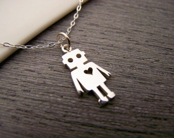 Tiny Robot Charm - Sterling Silver Necklace - Simple Jewelry - Everyday Necklace / Gift for Her