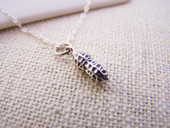 Tiny Peanut Necklace - Tiny Sterling Silver Necklace - Simple Jewelry - Tiny Necklace - Dainty Necklace - Peanut Charm - Gift for Her