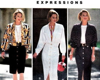 Vintage 90's Sewing Pattern Bomber Style Jacket Button Front Skirt Top Size 8 10 12 Butterick 6650 Uncut Factory Folds