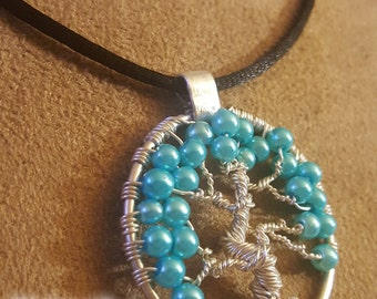 Tree of Life – Aqua Pearl and Silver Wire Wrapped Pendant on Satin Cord Free Domestic Shipping