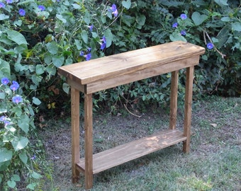 Rustic Console Table Extra Narrow 36 Inch Sofa Table Entryway Hallway Foyer Table with Shelf