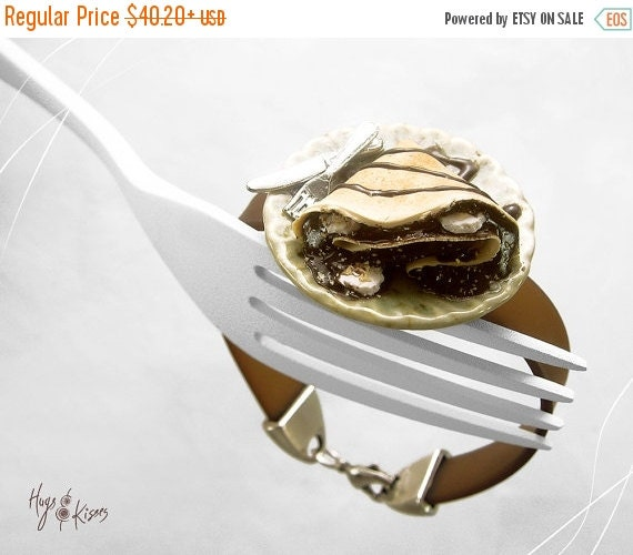 SALE - Scented Chocolate Crepe Bracelet, Banana Crepe Bracelet, Mini Food Jewelry,Polymer Clay Bracelet,Foodie Gift,Kawaii Jewelry,Dessert b