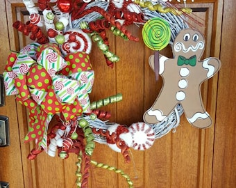 Red and Green Christmas Candy Wreath with Handpainted Gingerbread man