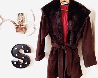 Heavy Vintage Maroon/Brown Coat with Silky Burnt Orange Interior and HUGE faux fur Hood