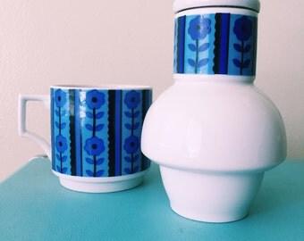 Vintage Blue Floral Three Piece Japanese Tea and Mug Set