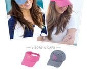 Monogram Baseball Caps, Monogram Visors, Embroidered Baseball Hat with Monogram, Embroidered Visor with Monogram,