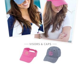 Monogram Hat, Monogram Baseball Caps, Monogram Visors, Embroidered Baseball Hat with Monogram, Embroidered Visor with Monogram,