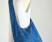 Deep Blue Magenta Flower Beach Bag Cotton Crossbody Bag Boho Hobo Bag Diaper Bag Hippie Handbag Sling Bag Shoulder Purse