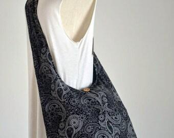 Black Crayon Paisley Cotton Bag  Handbags Beach Bag Crossbody Bag Boho Bag Hobo Bag Diaper Bag Messenger Bag Purse PBB06