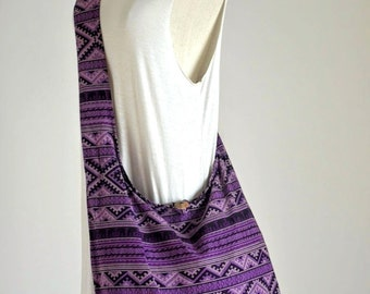 Hmong Bag Elephant Cotton Bag Hill Tribe Crossbody Bag Boho Hobo Bag Shoulder Sling Bag Handbag Diaper Bag, Violet