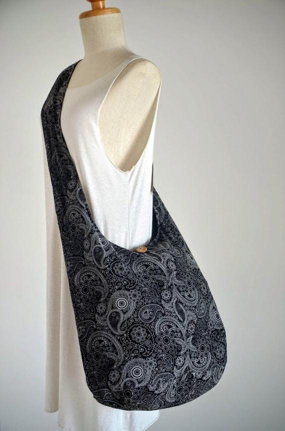 Black Crayon Paisley Cotton Bag Handbags Beach Bag Crossbody