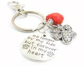 Paw Keychain, Heart Keychain, Pet Keychain, Pet Loss Gift, Dog Keychain, Cat Keychain, Car Accessories