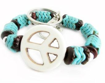 Keychain Bracelet, Wristlet Keychain, Bracelet Keychain, Peace Keychain, Peace Bracelet, Boho Keychain