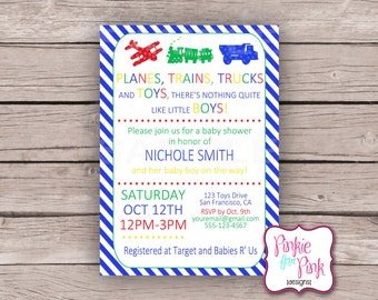 Personalized Baby Boy Shower Planes, Trains, Trucks and Toys Invitation- Primary Colors- Red, Blue, Yellow, Green- Digital File Download