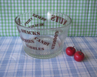 Typography Snack Bowl - Clear Glass - Mod Lettering - Groovy - Party Bowl - Vintage 1970's