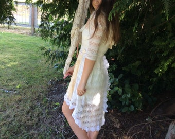 Fairytale Dress  Upcycled Romantic Lace White and Antique Beige Woodland Enchanting ~SALE~
