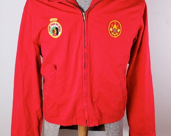 1960's Boy Scouts of America Red Work Uniform Jacket with Patches Thatcher Woods Council Size L