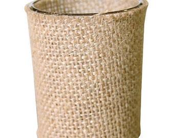 Rustic Burlap Votive Candle Holder Wedding Country Natural
