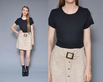 1960s 90s mod dress button up skirt two tone black tan belted retro twiggy short sleeve minimal mini dress small