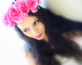 PINK ROSE Flower Headband, Boho Headband, Flower Crown, Pink Flower Crown