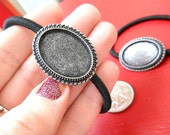 Hair Elastic Hairtie Tray Setting Frame for Cabochons Stamps Mixed Media (2 pieces in antique silver)