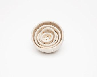 24k gold or white gold polkadot mini ceramic nesting bowls
