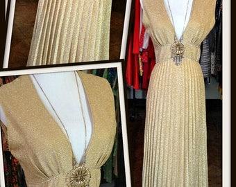 Vintage Gold Metallic Lame Pleated Low V-Neck Rhinestone Long Dress FREE SHIPPING