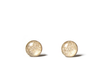 Champagne sparkle earrings 4mm Teeny tiny stud earrings with glitter