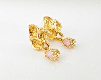 Pink Zirconia Earrings/ Gold Leaf Earrings/ Gold And Pink Earrings/ Gold Dangle Earrings - Golden Vineyard